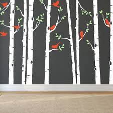 tree wall sticker with personalised name birch trees decal tree wall sticker with personalised name birch trees decal urban artwork