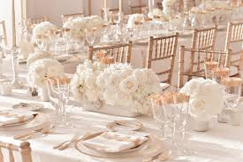 Elegant Wedding Centerpieces Ivory Wedding Centerpieces With Rose Gold Table Accents And Chairs