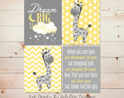 Yellow Gray Nursery Decor Yellow Elephant Big One Modern Nursery Decor