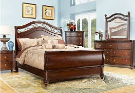 Laurel View Cherry  Pc Queen Sleigh Bedroom Bedroom Sets Dark Wood - Dark wood queen bedroom sets