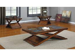 Rustic Coffee Tables And End Tables Rustic Coffee And End Table Sets Oak Finish And Slate Coffee
