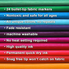 amazon com best fabric markers pack of 24 pens non toxic set