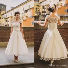 rustic wedding dresses discount vintage scoop cap sleeves tea length a line lace wedding
