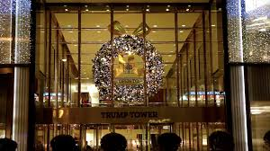 christmas wreath on trump tower new york stock video footage