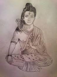 half shiv half buddha pencil by nikhilbad on deviantart