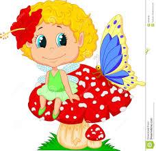 cartoon cute fairy sitting on mushroom stock vector image 80299211