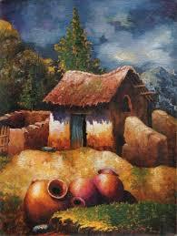 nostalgic peruvian village scene painting water jars ii novica