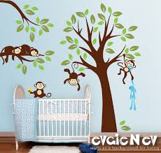Nursery Monkey Wall Decals Monkeys Everywhere Wall Decals Jungle Tree With Monekys Wall