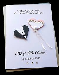 Card From Bride To Groom On Wedding Day Handmade Personalised Congratulations Wedding Day Bride U0026 Groom