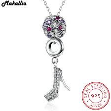 sted necklaces classic 925 sterling silver purple zircon high heels