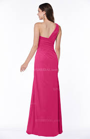 fuschia bridesmaid dress modern one shoulder sleeveless half