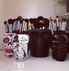 Skull Decor Skull Brush Holder Black Skull Makeup Brush Holder Skull