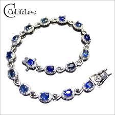 sapphire bracelet images Luxurious sri lanka sapphire bracelet 16pcs natural cornflower jpg
