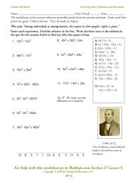 Graphing Polynomial Functions Worksheet Pf 5 Factoring Power Functions And Expressions Using Gcf Mathops