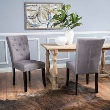 White Tufted Dining Chairs Noble House Natalie Brown And White Fabric Tufted Dining Chair