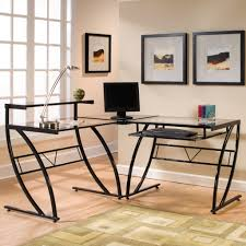 monarch black metal l shaped computer desk with tempered glass