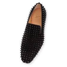 dandelion spikes flat black black veau velours men shoes