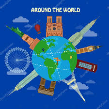 traveling around the world images Traveling around the world banner with famous architectural jpg