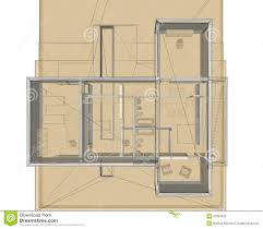 3d rendering wire frame of building site plan stock illustration