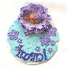 lavender baby shower cake topper 3d flower soft blue vine