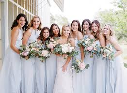 wedding trend soft grey blue bridesmaid dresses