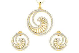 gold earrings necklace images Buy emel diamond earrings pendant set endear jewellery jpg