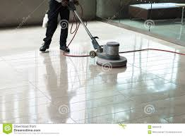 building maintenance cleaning floor polishing stock photo