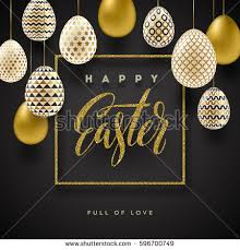 Decorating Easter Eggs Gold by Easter Vector Illustration Glitter Gold Calligraphic Stock Vector
