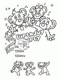 coloring birthday cards birthday party card with teddy bears coloring page for kids