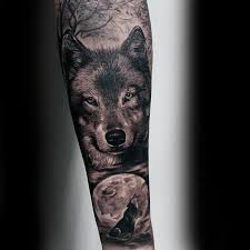 wolf howling at moon guys realistic forearm sleeve tattoo ideas