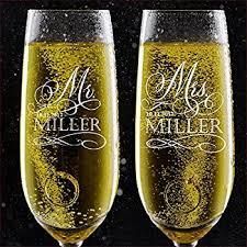 set of 2 personalized wedding chagne flutes mr