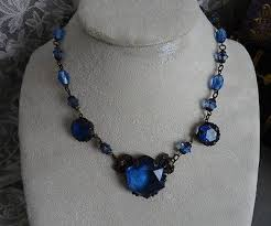 blue glass necklace vintage images Czech jewelry collection on ebay jpg