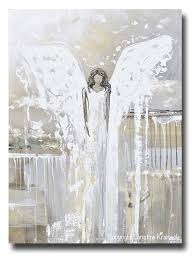 Abstract Home Decor Original Abstract Angel Painting Guardian Angel Art Neutral Home