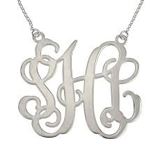 Monogrammed Necklace Sterling Silver Custom Name Necklace Sterling Silver Personalized Silver Monogram