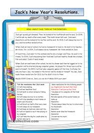 jacks new years resolutions reading comprehension pinterest
