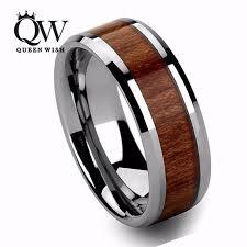 wood mens wedding bands queenwish mens wedding bands 8mm vintage hawaiian koa wood inlay