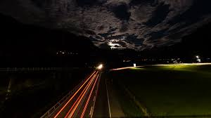 Fast Light A Night Timelapse Top View Of A Highway With Car Lights And Fast