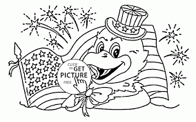 cute american eagle 4th of july coloring page for kids coloring