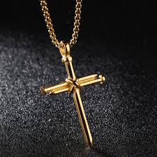 colored cross necklace images Fashio nail cross necklace for men steampunk jewelry jesus christ jpg