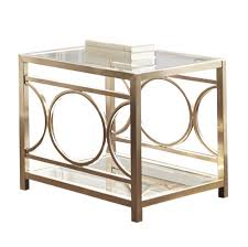 Silver Sofa Table Steve Silver Olympia Glass Top End Table W Gold Chrome Base