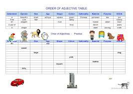 5 free esl adjectives word order worksheets