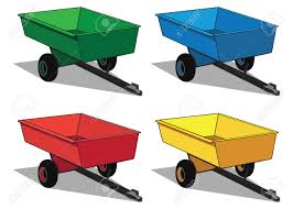 Different Color Schemes Small Utility Trailer In Four Different Color Schemes Royalty Free