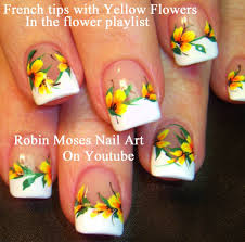16 french nail flower designs spring black and white flower nail