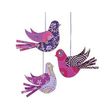 purple origami paper bird ornaments set of 3 baby sparrows