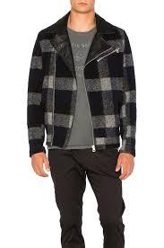 scotch u0026 soda biker jacket in black plaid revolve