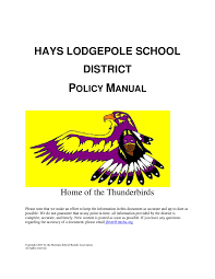hays lodgepole district policy manual by montana