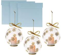 set of 3 candle impressions glass ornaments w flameless votives