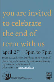 you are invited to celebrate celebrating the end of term at cisar centre for india and south