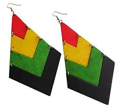 reggae earrings wood rasta earrings reggae earrings jamaican earrings bob
