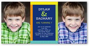 colorfully stitched 4x8 photo card twin birthday invitations